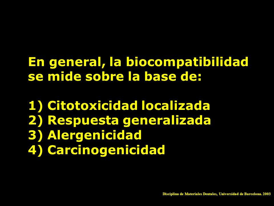 En general, la biocompatibilidad se mide sobre la base de: 1) Citotoxicidad localizada 2) Respuesta generalizada 3) Alergenicidad 4) Carcinogenicidad