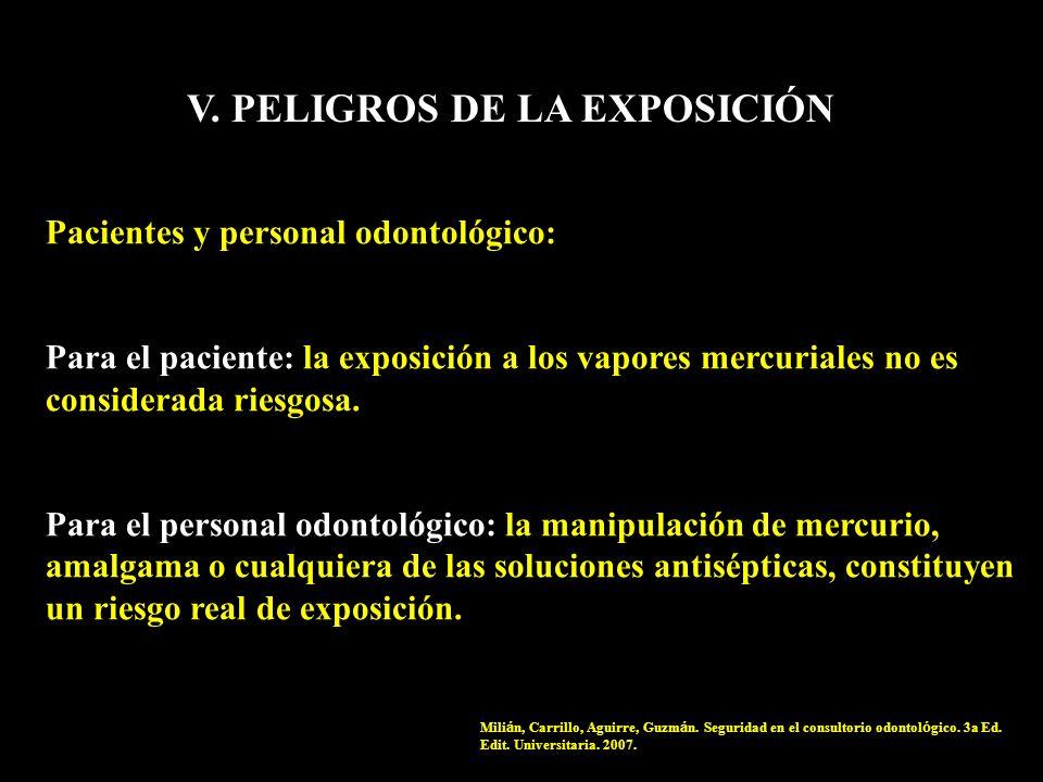 V. PELIGROS DE LA EXPOSICIÓN Pacientes y personal odontológico: Para el paciente: la exposición a los vapores mercuriales no es considerada riesgosa.