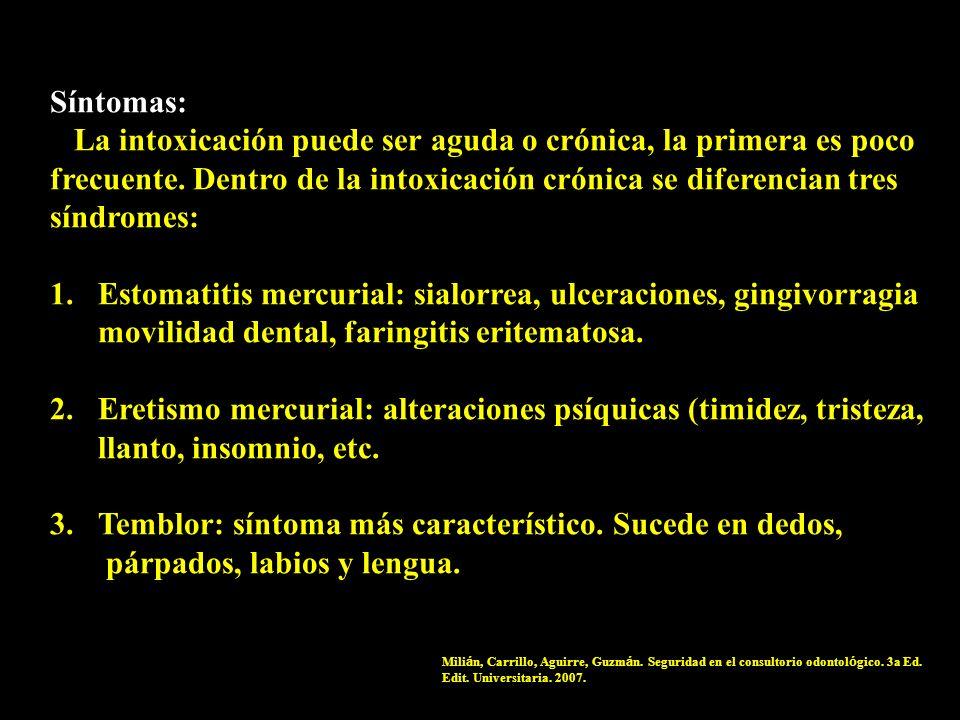 Síntomas: La intoxicación puede ser aguda o crónica, la primera es poco frecuente. Dentro de la intoxicación crónica se diferencian tres síndromes: 1.