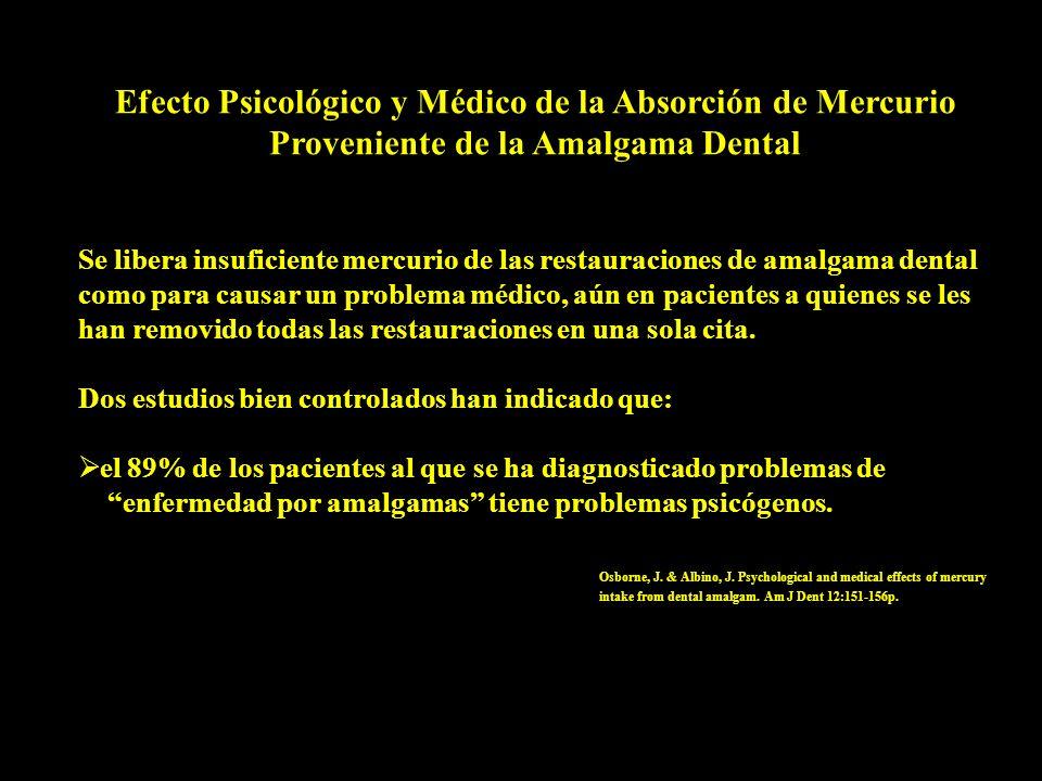 Efecto Psicológico y Médico de la Absorción de Mercurio Proveniente de la Amalgama Dental Se libera insuficiente mercurio de las restauraciones de ama