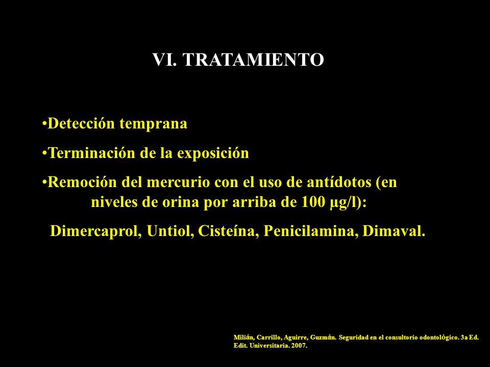 VI. TRATAMIENTO Detección temprana Terminación de la exposición Remoción del mercurio con el uso de antídotos (en niveles de orina por arriba de 100 µ