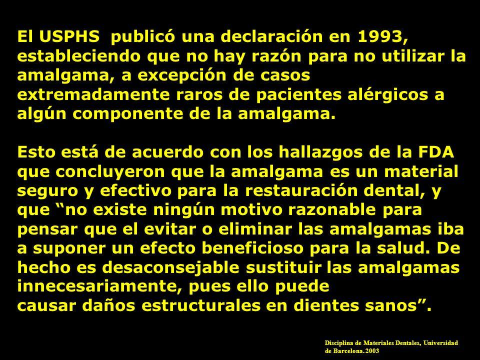 El USPHS publicó una declaración en 1993, estableciendo que no hay razón para no utilizar la amalgama, a excepción de casos extremadamente raros de pa