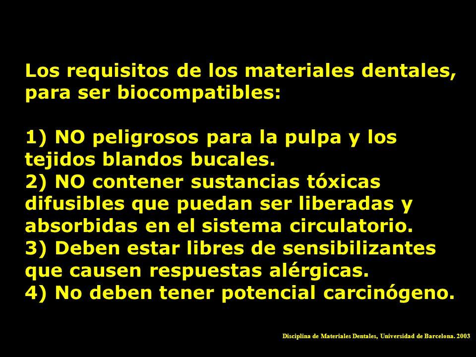 Los requisitos de los materiales dentales, para ser biocompatibles: 1) NO peligrosos para la pulpa y los tejidos blandos bucales. 2) NO contener susta