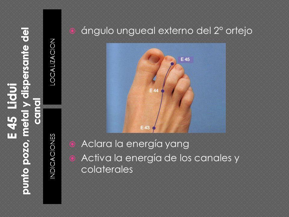 ángulo ungueal externo del 2° ortejo Aclara la energía yang Activa la energía de los canales y colaterales LOCALIZACION INDICACIONES