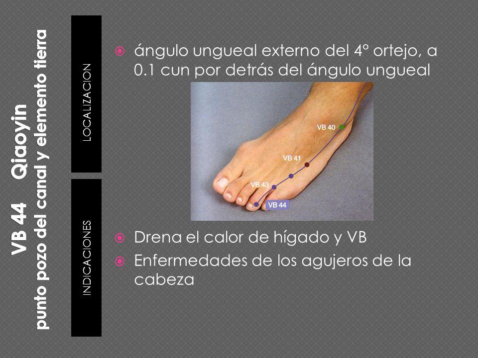 Drena el calor de hígado y VB Enfermedades de los agujeros de la cabeza ángulo ungueal externo del 4° ortejo, a 0.1 cun por detrás del ángulo ungueal