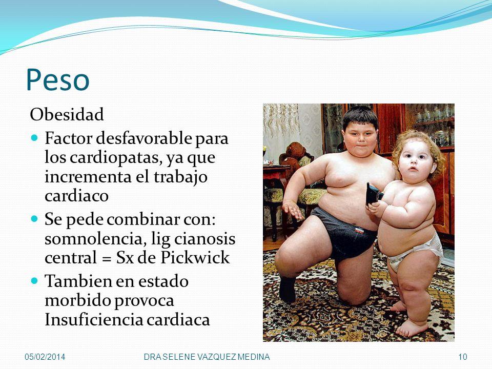 Peso Obesidad Factor desfavorable para los cardiopatas, ya que incrementa el trabajo cardiaco Se pede combinar con: somnolencia, lig cianosis central
