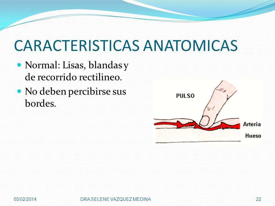 CARACTERISTICAS ANATOMICAS Normal: Lisas, blandas y de recorrido rectilineo. No deben percibirse sus bordes. 05/02/2014DRA SELENE VAZQUEZ MEDINA22