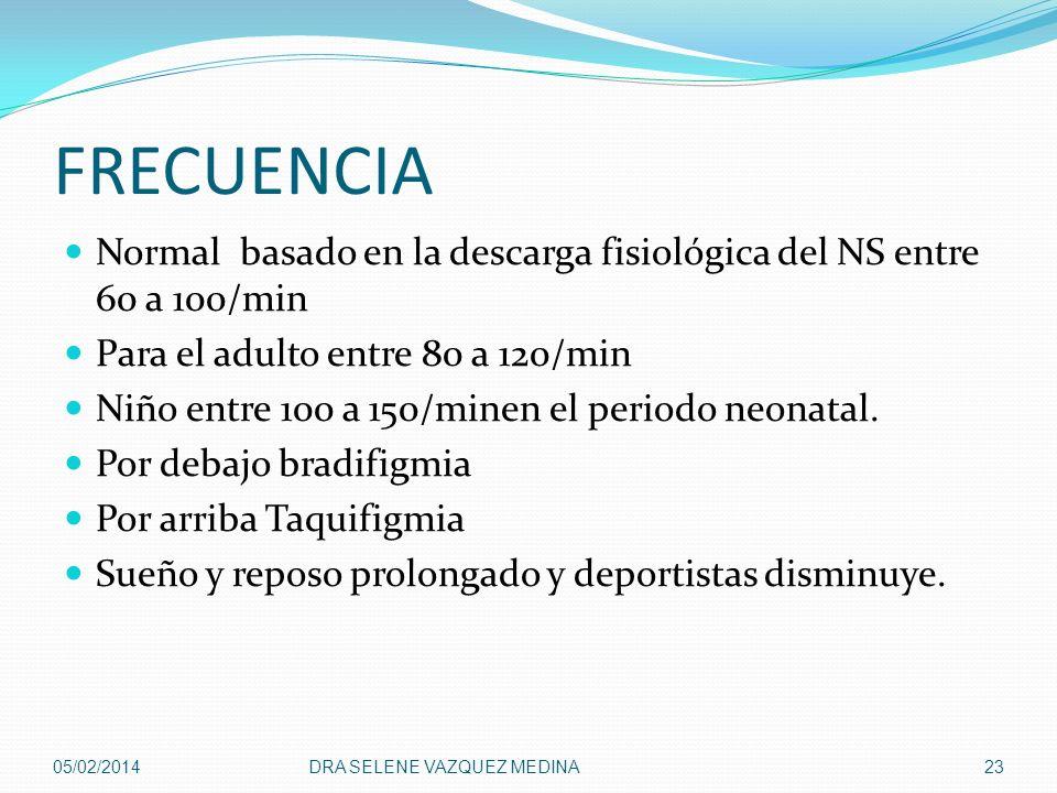FRECUENCIA Normal basado en la descarga fisiológica del NS entre 60 a 100/min Para el adulto entre 80 a 120/min Niño entre 100 a 150/minen el periodo
