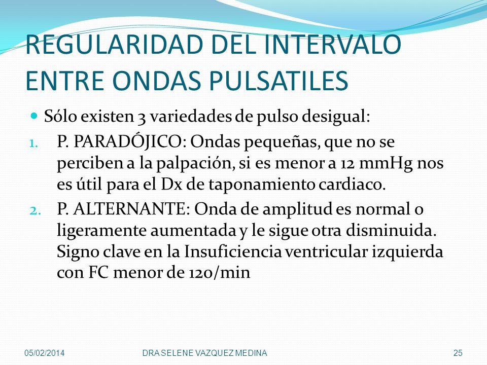 REGULARIDAD DEL INTERVALO ENTRE ONDAS PULSATILES Sólo existen 3 variedades de pulso desigual: 1. P. PARADÓJICO: Ondas pequeñas, que no se perciben a l