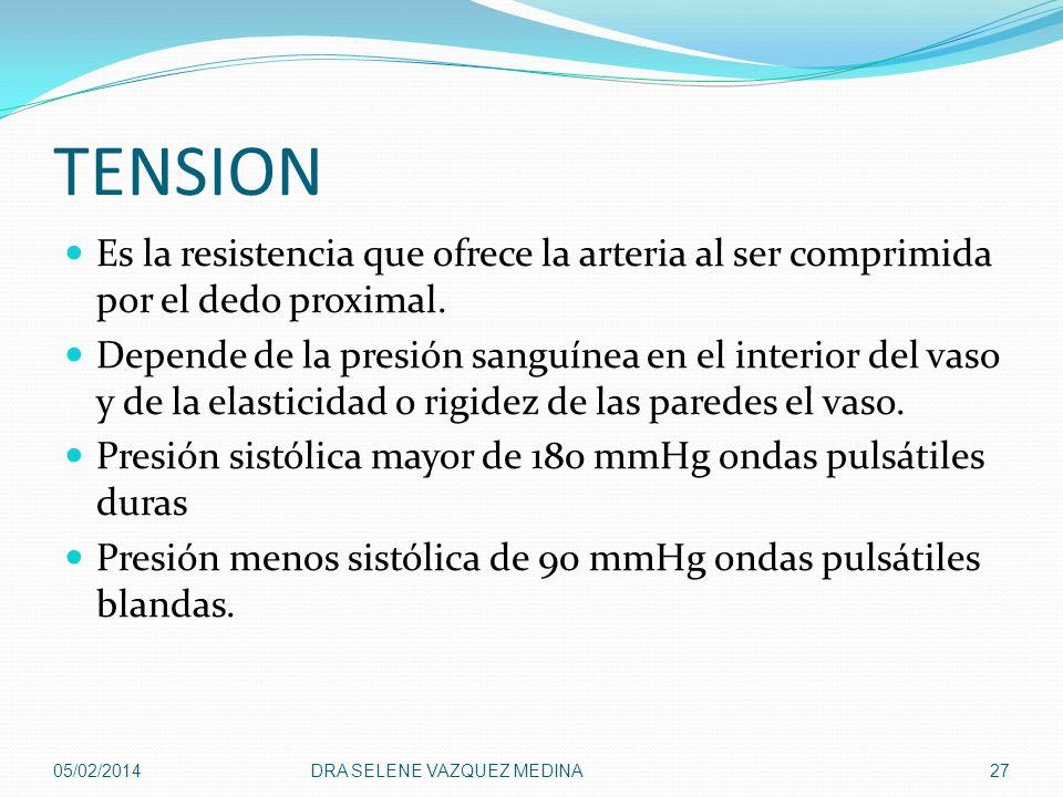 TENSION Es la resistencia que ofrece la arteria al ser comprimida por el dedo proximal. Depende de la presión sanguínea en el interior del vaso y de l