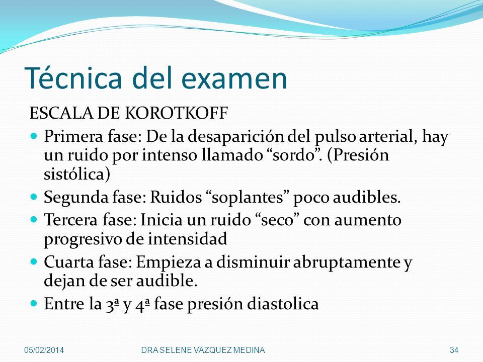 Técnica del examen ESCALA DE KOROTKOFF Primera fase: De la desaparición del pulso arterial, hay un ruido por intenso llamado sordo. (Presión sistólica