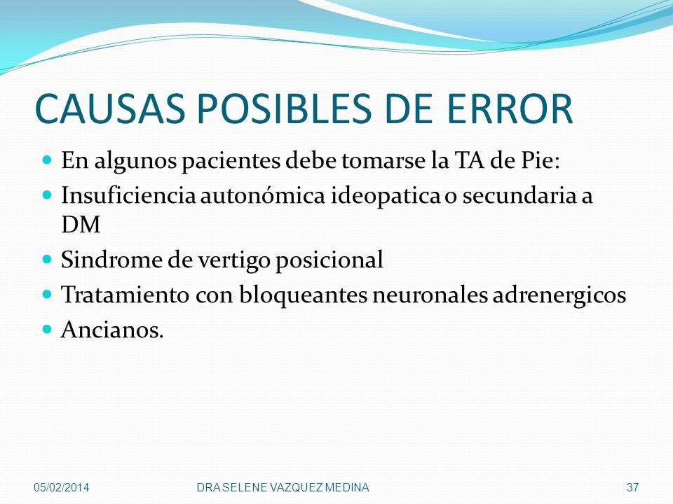 CAUSAS POSIBLES DE ERROR En algunos pacientes debe tomarse la TA de Pie: Insuficiencia autonómica ideopatica o secundaria a DM Sindrome de vertigo pos