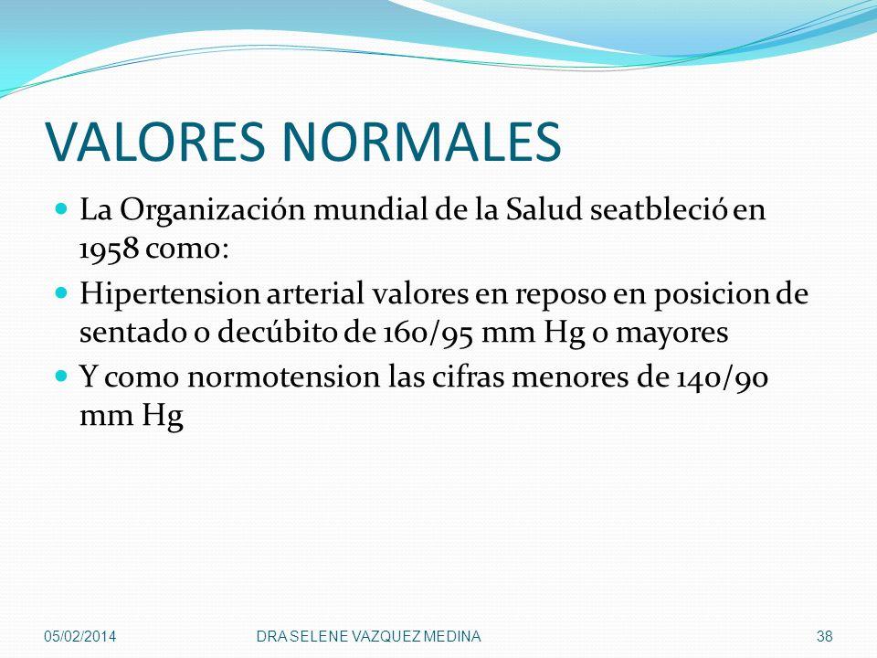 VALORES NORMALES La Organización mundial de la Salud seatbleció en 1958 como: Hipertension arterial valores en reposo en posicion de sentado o decúbit