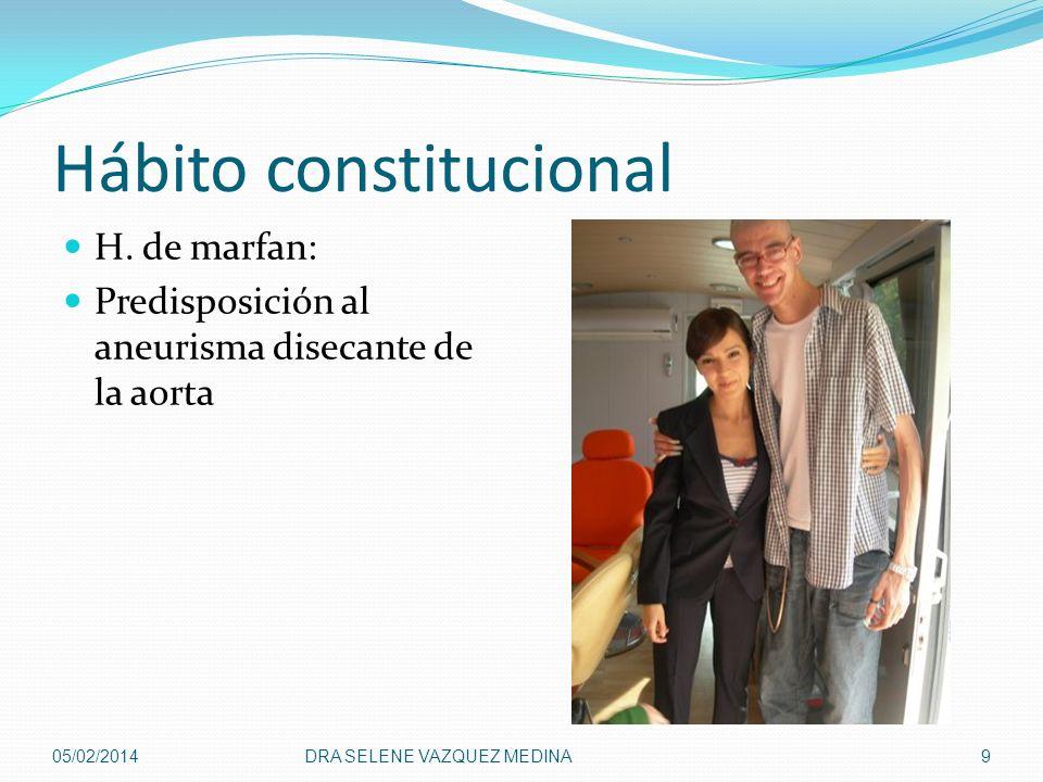 Hábito constitucional H. de marfan: Predisposición al aneurisma disecante de la aorta 05/02/2014DRA SELENE VAZQUEZ MEDINA9
