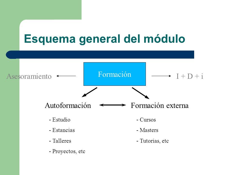Esquema general del módulo Formación AutoformaciónFormación externa - Estudio - Estancias - Talleres - Proyectos, etc - Cursos - Masters - Tutorias, etc AsesoramientoI + D + i