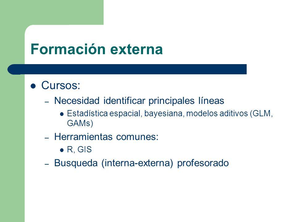 Formación externa Cursos: – Necesidad identificar principales líneas Estadística espacial, bayesiana, modelos aditivos (GLM, GAMs) – Herramientas comunes: R, GIS – Busqueda (interna-externa) profesorado