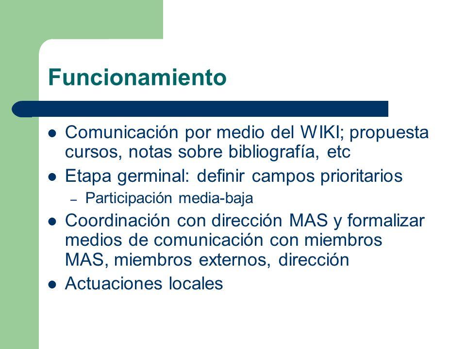 Funcionamiento Comunicación por medio del WIKI; propuesta cursos, notas sobre bibliografía, etc Etapa germinal: definir campos prioritarios – Participación media-baja Coordinación con dirección MAS y formalizar medios de comunicación con miembros MAS, miembros externos, dirección Actuaciones locales
