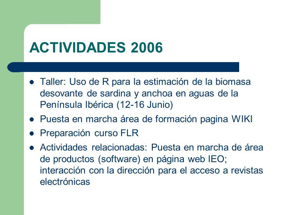 ACTIVIDADES 2006 Taller: Uso de R para la estimación de la biomasa desovante de sardina y anchoa en aguas de la Península Ibérica (12-16 Junio) Puesta en marcha área de formación pagina WIKI Preparación curso FLR Actividades relacionadas: Puesta en marcha de área de productos (software) en página web IEO; interacción con la dirección para el acceso a revistas electrónicas