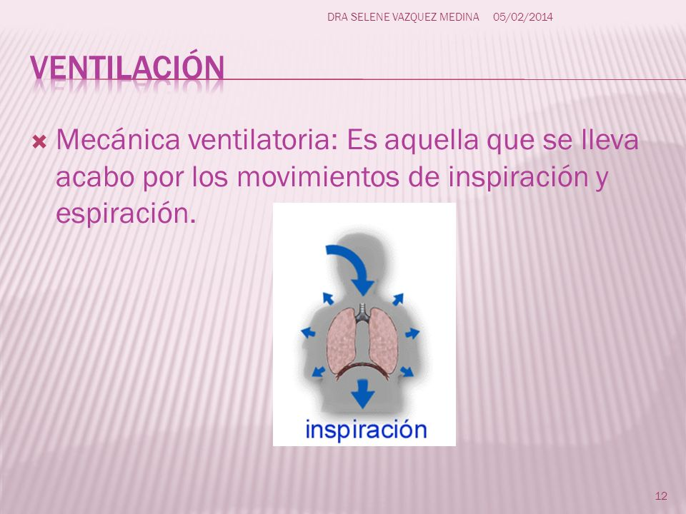 Mecánica ventilatoria: Es aquella que se lleva acabo por los movimientos de inspiración y espiración. 12 DRA SELENE VAZQUEZ MEDINA05/02/2014