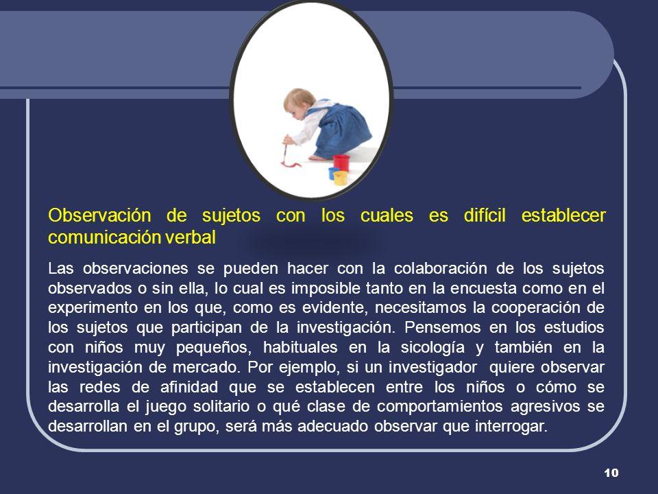10 Observación de sujetos con los cuales es difícil establecer comunicación verbal Las observaciones se pueden hacer con la colaboración de los sujeto