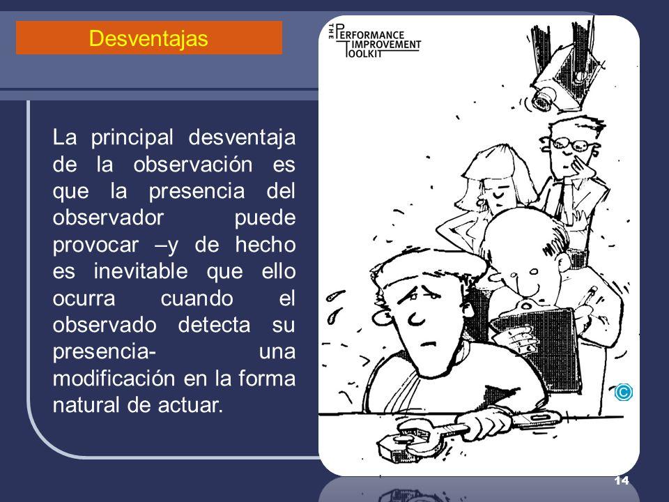 14 La principal desventaja de la observación es que la presencia del observador puede provocar –y de hecho es inevitable que ello ocurra cuando el obs