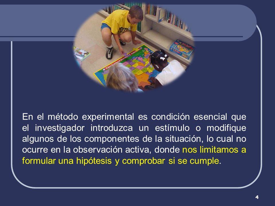 4 En el método experimental es condición esencial que el investigador introduzca un estímulo o modifique algunos de los componentes de la situación, l