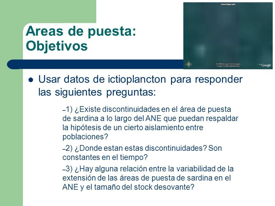 Areas de puesta: Objetivos Usar datos de ictioplancton para responder las siguientes preguntas: – 1) ¿Existe discontinuidades en el área de puesta de