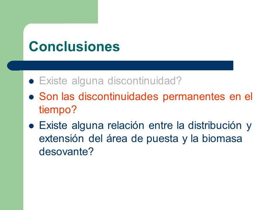 Conclusiones Existe alguna discontinuidad? Son las discontinuidades permanentes en el tiempo? Existe alguna relación entre la distribución y extensión