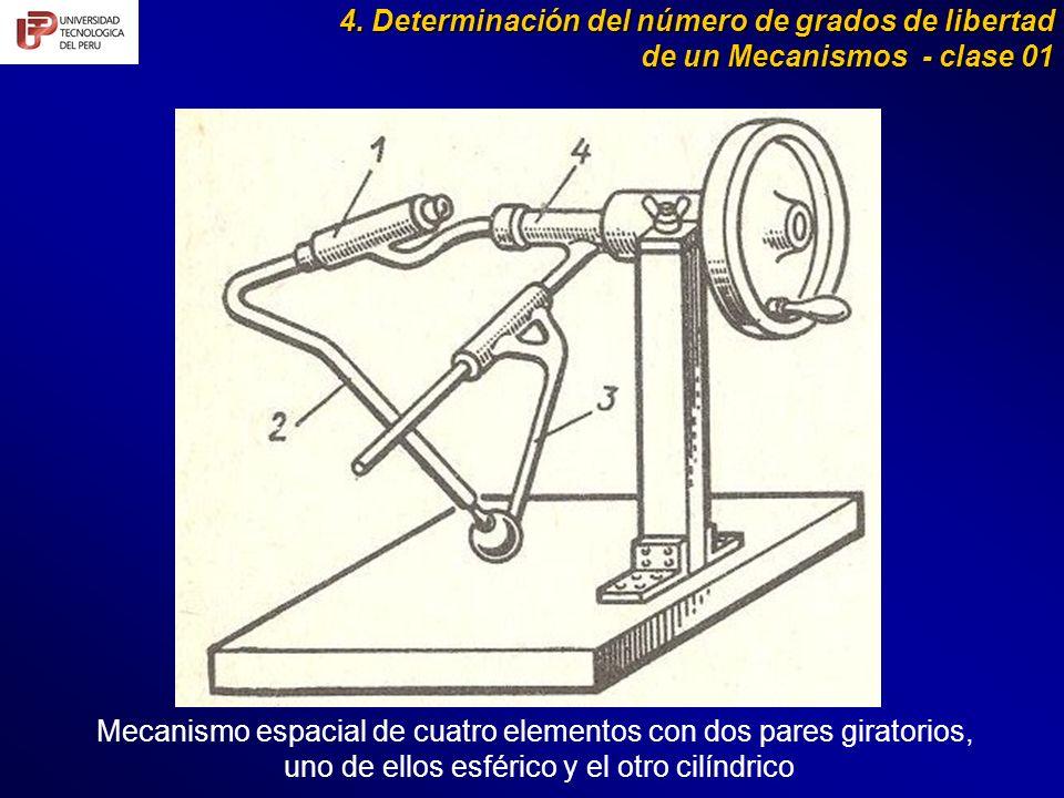 4. Determinación del número de grados de libertad de un Mecanismos - clase 01 Mecanismo espacial de cuatro elementos con dos pares giratorios, uno de