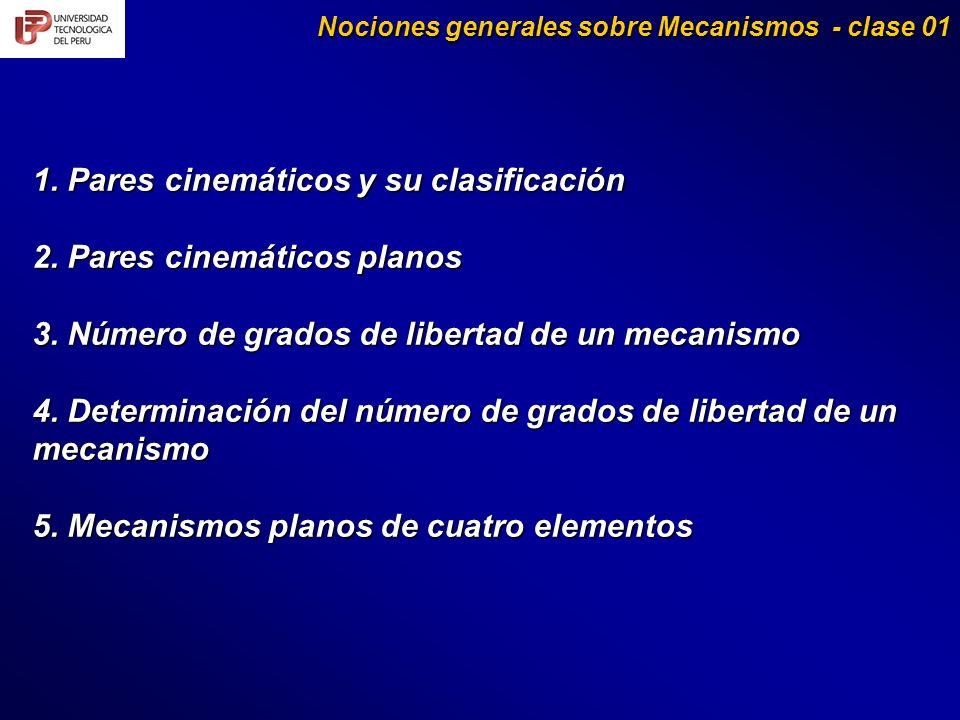 1. Pares cinemáticos y su clasificación 2. Pares cinemáticos planos 3. Número de grados de libertad de un mecanismo 4. Determinación del número de gra