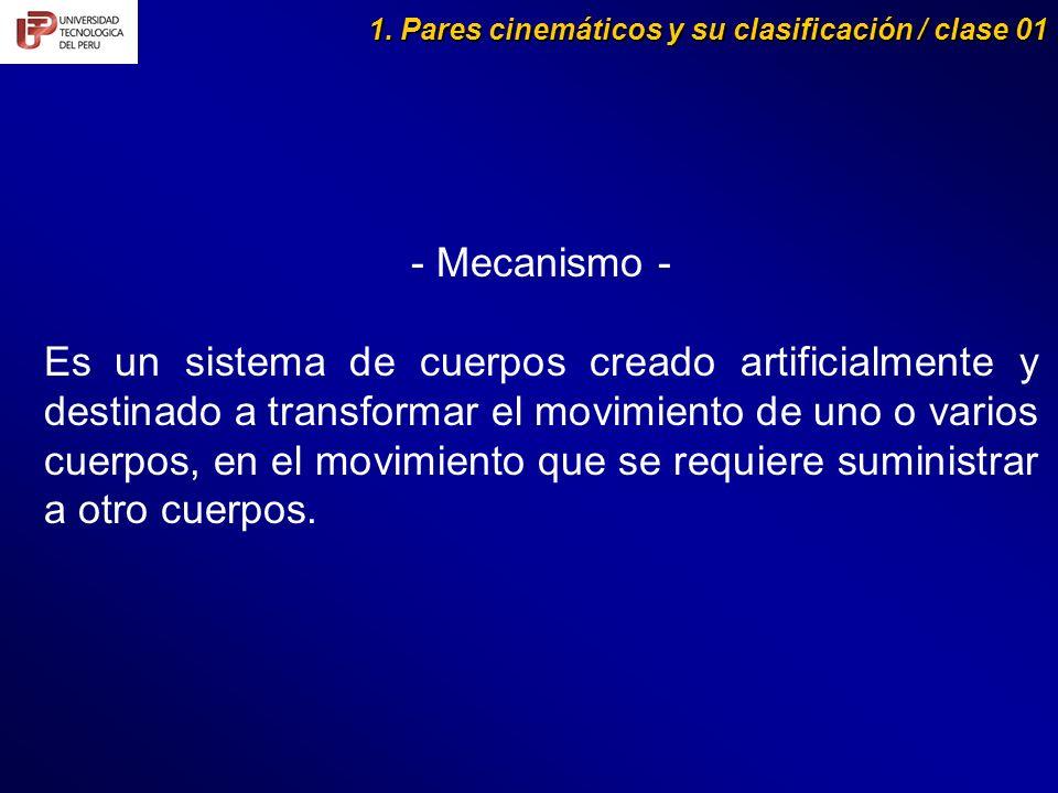 1. Pares cinemáticos y su clasificación / clase 01 - Mecanismo - Es un sistema de cuerpos creado artificialmente y destinado a transformar el movimien