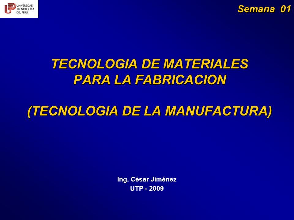 TECNOLOGIA DE MATERIALES PARA LA FABRICACION (TECNOLOGIA DE LA MANUFACTURA) Ing.