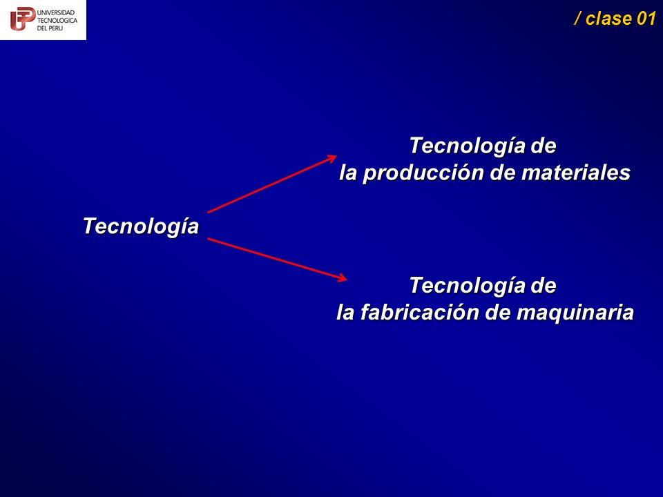 Tecnología / clase 01 / clase 01 Tecnología de la producción de materiales la producción de materiales Tecnología de la fabricación de maquinaria la fabricación de maquinaria