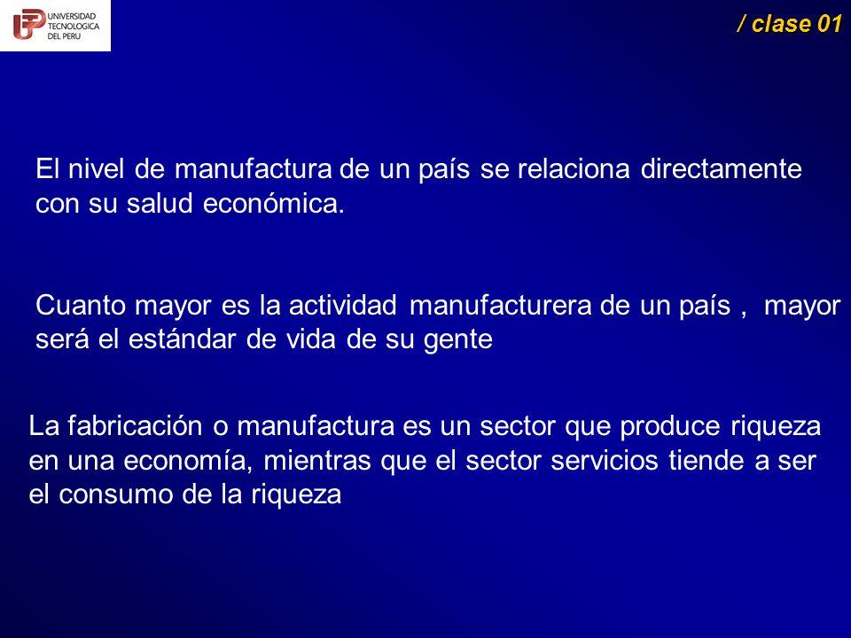 La fabricación o manufactura es un sector que produce riqueza en una economía, mientras que el sector servicios tiende a ser el consumo de la riqueza / clase 01 / clase 01 El nivel de manufactura de un país se relaciona directamente con su salud económica.