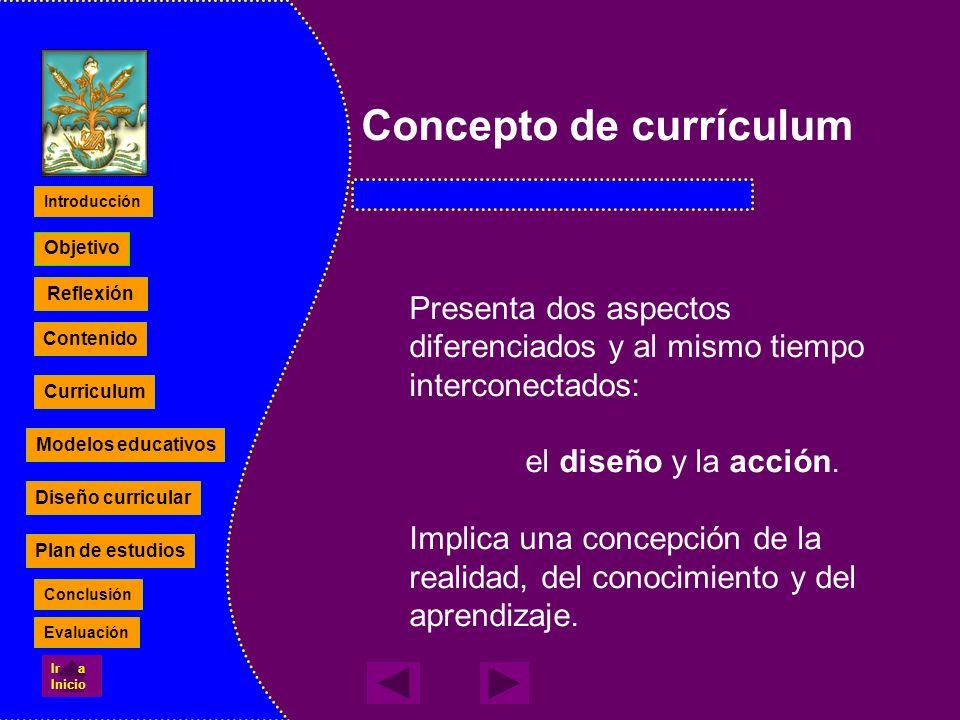 Concepto de currículum Presenta dos aspectos diferenciados y al mismo tiempo interconectados: el diseño y la acción. Implica una concepción de la real