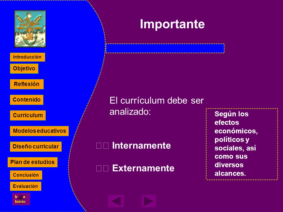 El currículum debe ser analizado: Internamente Externamente Según los efectos económicos, políticos y sociales, así como sus diversos alcances. Reflex