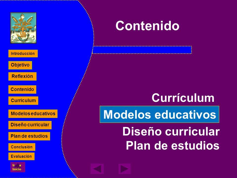 Diseño curricular Plan de estudios Contenido Currículum Modelos educativos Reflexión Contenido Curriculum Modelos educativos Diseño curricular Plan de