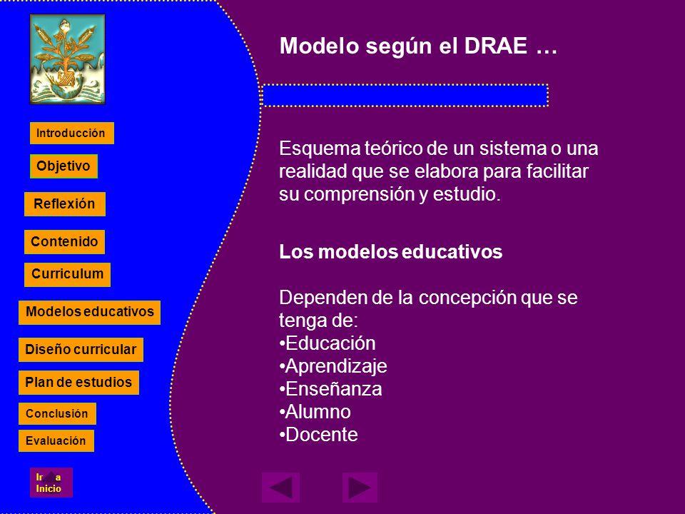 Modelo según el DRAE … Esquema teórico de un sistema o una realidad que se elabora para facilitar su comprensión y estudio. Los modelos educativos Dep