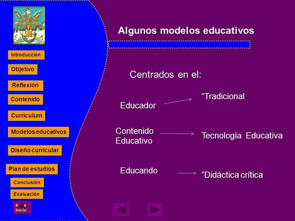 Algunos modelos educativos Centrados en el: Educador Contenido Educativo Educando Tradicional Tecnología Educativa Didáctica crítica Reflexión Conteni