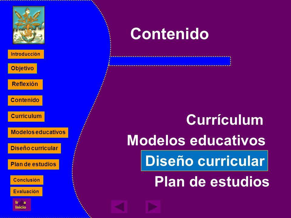Plan de estudios Contenido Currículum Modelos educativos Diseño curricular Reflexión Contenido Curriculum Modelos educativos Diseño curricular Plan de