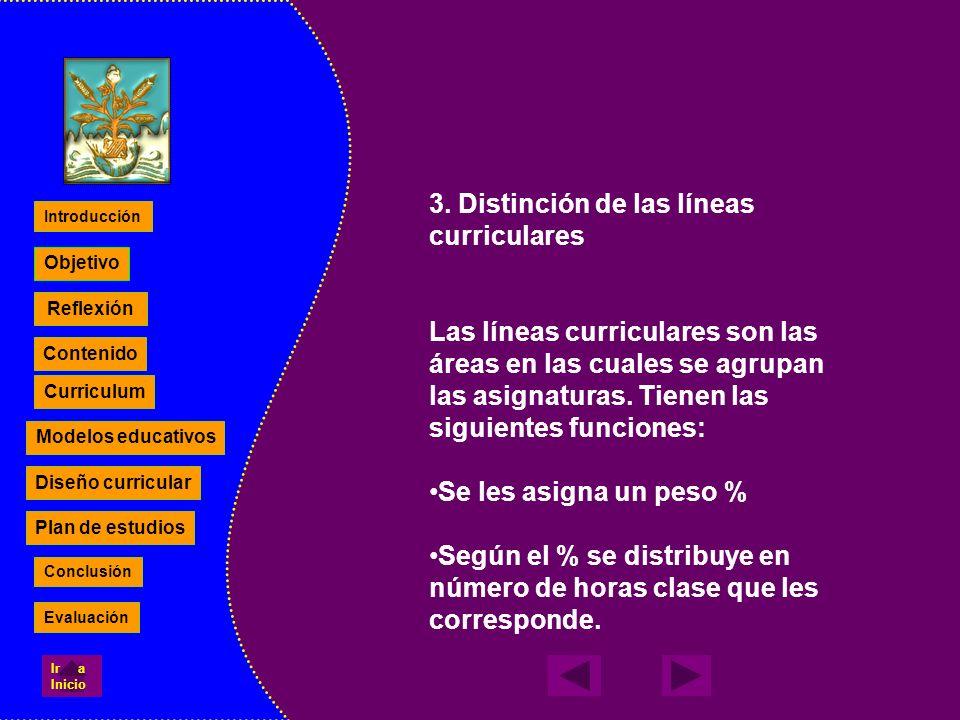 3. Distinción de las líneas curriculares Las líneas curriculares son las áreas en las cuales se agrupan las asignaturas. Tienen las siguientes funcion