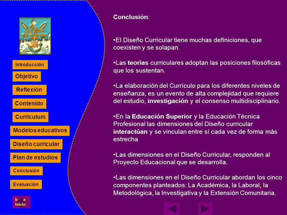 Reflexión Contenido Curriculum Modelos educativos Diseño curricular Plan de estudios Objetivo Conclusión: El Diseño Curricular tiene muchas definicion