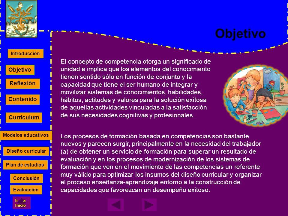 Reflexión Contenido Curriculum Modelos educativos Diseño curricular Plan de estudios Objetivo Introducción Conclusión Evaluación Ir a Inicio