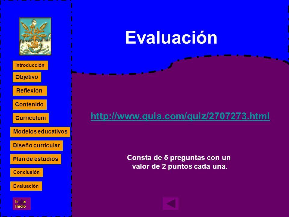http://www.quia.com/quiz/2707273.html Evaluación Consta de 5 preguntas con un valor de 2 puntos cada una. Reflexión Contenido Curriculum Modelos educa