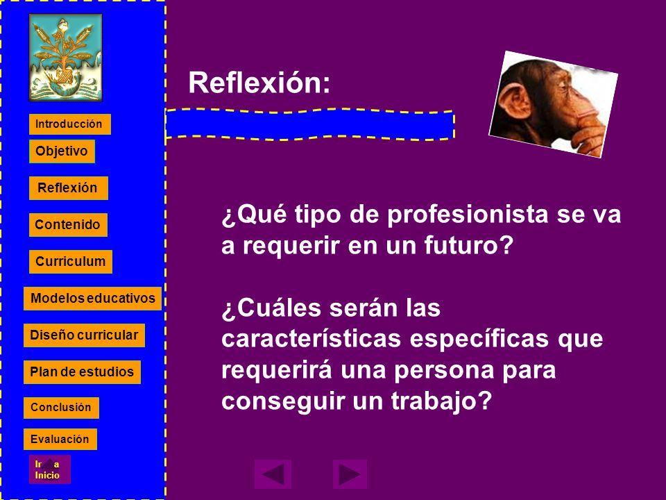 Modelos educativos Diseño curricular Plan de estudios Contenido Currículum Reflexión Contenido Curriculum Modelos educativos Diseño curricular Plan de estudios Objetivo Introducción Conclusión Evaluación Ir a Inicio
