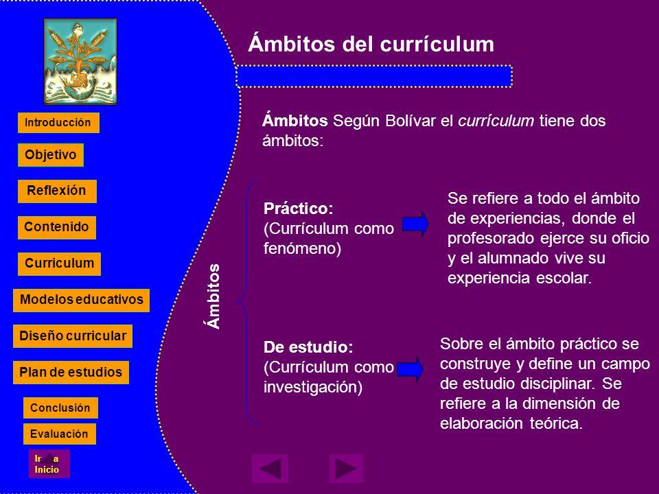 Ámbitos del currículum Ámbitos Según Bolívar el currículum tiene dos ámbitos: Práctico: (Currículum como fenómeno) De estudio: (Currículum como invest
