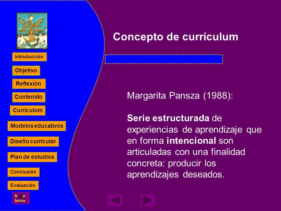 Concepto de currículum Margarita Pansza (1988): Serie estructurada de experiencias de aprendizaje que en forma intencional son articuladas con una fin