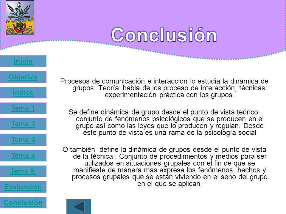 Inicio Objetivo Índice Tema 1 Tema 2 Tema 3 Tema 4 Tema 5 Evaluación Conclusión A llegado la hora de la Evaluación. ¡Suerte! Tu Puedes ¡¡ Animo!!
