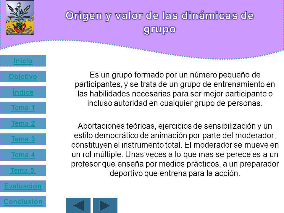 Tema 1 Origen y valor de las dinámicas de grupo Tema 2 Surgimiento de las dinámicas Tema 3 Importancia del estudio de los grupos en la actualidad Tema