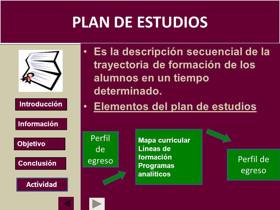 PLAN DE ESTUDIOS Es la descripción secuencial de la trayectoria de formación de los alumnos en un tiempo determinado. Elementos del plan de estudios E